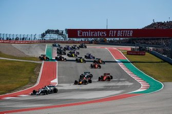 Valtteri Bottas, Mercedes AMG W10, leads Max Verstappen, Red Bull Racing RB15, Sebastian Vettel, Ferrari SF90, Lewis Hamilton, Mercedes AMG F1 W10 Alex Albon, Red Bull Racing RB15, Charles Leclerc, Ferrari SF90, Carlos Sainz Jr., McLaren MCL34 and the rest of the pack tab the start