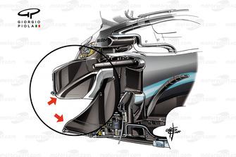 Dettaglio del chassis della Mercedes AMG F1 W10