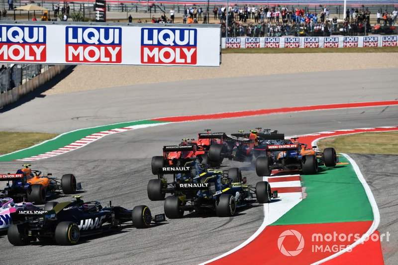 Alex Albon, Red Bull Racing RB15 is launched into the air at the start, as he battles between Charles Leclerc, Ferrari SF90 and Carlos Sainz Jr., McLaren MCL34 at the start
