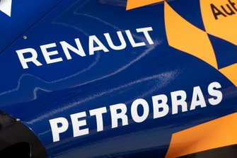 McLaren MCL34 engine cover detail and Renault and Petrobras logos