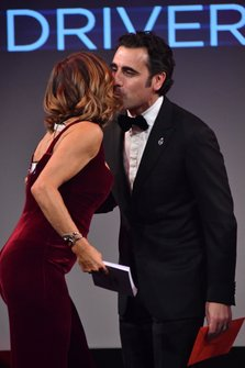 Dario Franchitti on stage with Natalie Pinkham, Sky TV, to present the British Competition Driver of the Year Award
