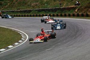 Niki Lauda, Ferrari 312T, Jody Scheckter, Tyrrell 007, Emerson Fittipaldi, McLaren M23