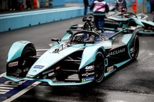 Sam Bird, Jaguar Racing, Jaguar I-Type 5, in the pit lane