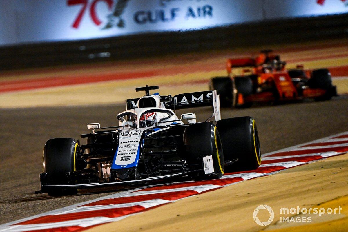 George Russell, Williams FW43, Sebastian Vettel, Ferrari SF1000
