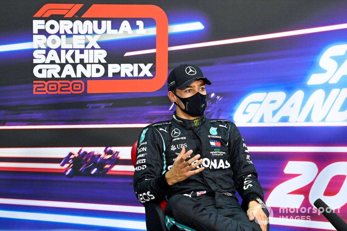 George Russell, Mercedes-AMG F1, en la rueda de prensa