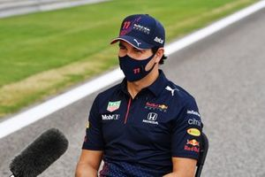 Sergio Perez, Red Bull Racing RB16B, is interviewed