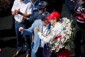 Helio Castroneves, Meyer Shank Racing Honda celebrates his victory, Jostens