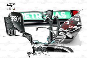 Alerón trasero de doble pilar del Mercedes AMG F1 W12