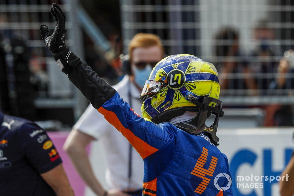 Segundo puesto Lando Norris, McLaren en Parc Ferme