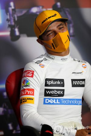 Lando Norris, McLaren at press conference