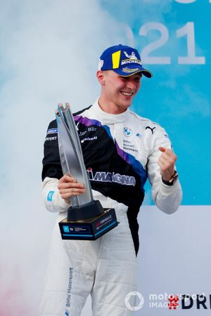 Maximilian Guenther, BMW I Andretti Motorsport, first position, celebrates on the podium with his trophy