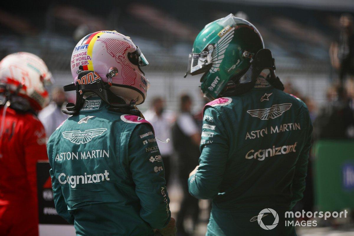 Sebastian Vettel, Aston Martin, Lance Stroll, Aston Martin, en Parc Ferme