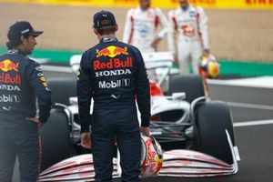 The 2022 Formula 1 car launch event on the Silverstone grid. Sergio Perez, Red Bull Racing and Max Verstappen, Red Bull Racing