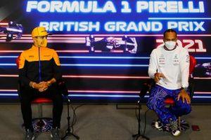Lando Norris, McLaren, and Lewis Hamilton, Mercedes, in the press conference