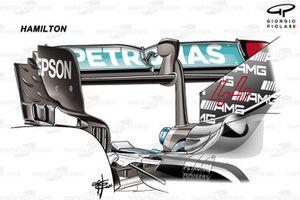 Lewis Hamilton, Mercedes AMG F1 W12 rear wing, Azerbaijan Grand Prix