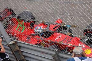 Charles Leclerc, Ferrari SF21, climbs out of his car after crashing