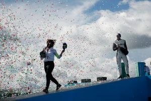 Delphine Biscaye, Team Manager, Venturi, Edoardo Mortara, Venturi Racing, first position, on the podium