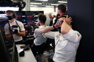 Toto Wolff, Team Principal and CEO, Mercedes AMG reacts to the screen in the garage