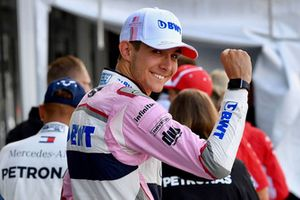 Esteban Ocon, Racing Point Force India F1 Team celebrates his qualifying position
