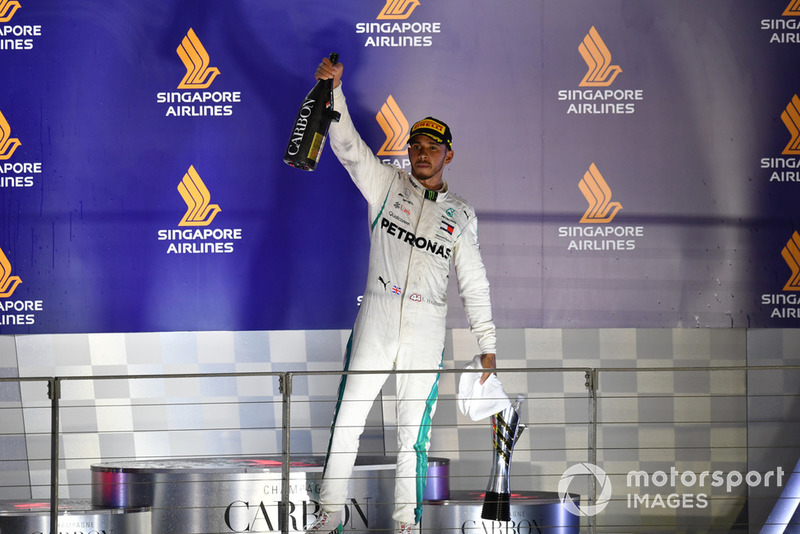 Lewis Hamilton, Mercedes AMG F1 celebrates with the champagne on the podium
