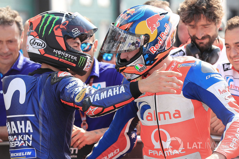 Third place Maverick Viñales, Yamaha Factory Racing, second place Jack Miller, Pramac Racing