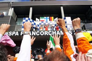 The podium: Giancarlo Fisichella, Force India F1, second; Kimi Raikkonen, Ferrari, race winner; Sebastian Vettel, Red Bull Racing, third