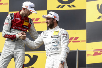 Podium: Race winner René Rast, Audi Sport Team Rosberg and third place Gary Paffett, Mercedes-AMG Team HWA