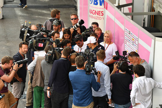 Esteban Ocon, Force India talks with the media