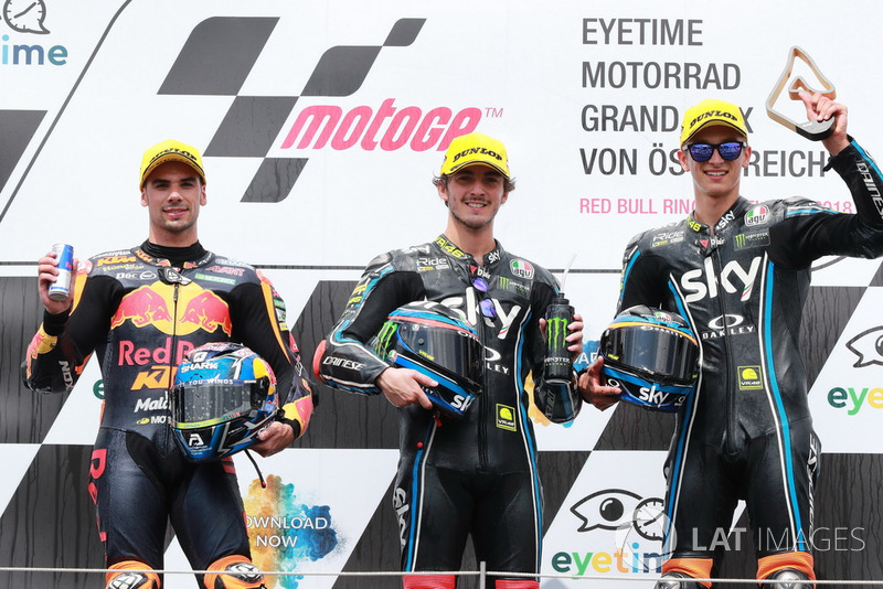 Podium: Miguel Oliveira, Red Bull KTM Ajo, Francesco Bagnaia, Sky Racing Team VR46, Luca Marini, Sky Racing Team VR46