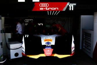 Car of Lucas di Grassi, Audi Sport ABT Schaeffler, Audi e-tron FE05, in the garage