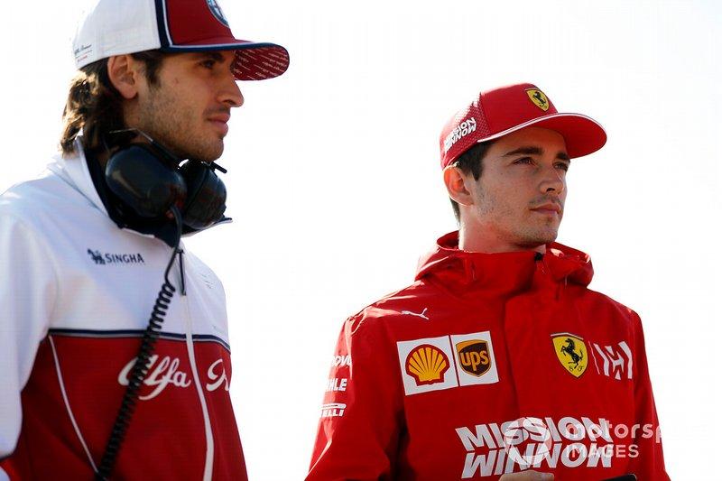 Antonio Giovinazzi, Alfa Romeo Racing et Charles Leclerc, Ferrari