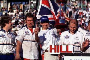 Damon Hill celebrates winning his World Championship title