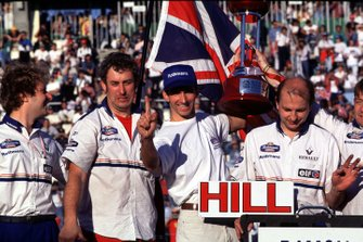 Damon Hill celebrates winning his World Championship title