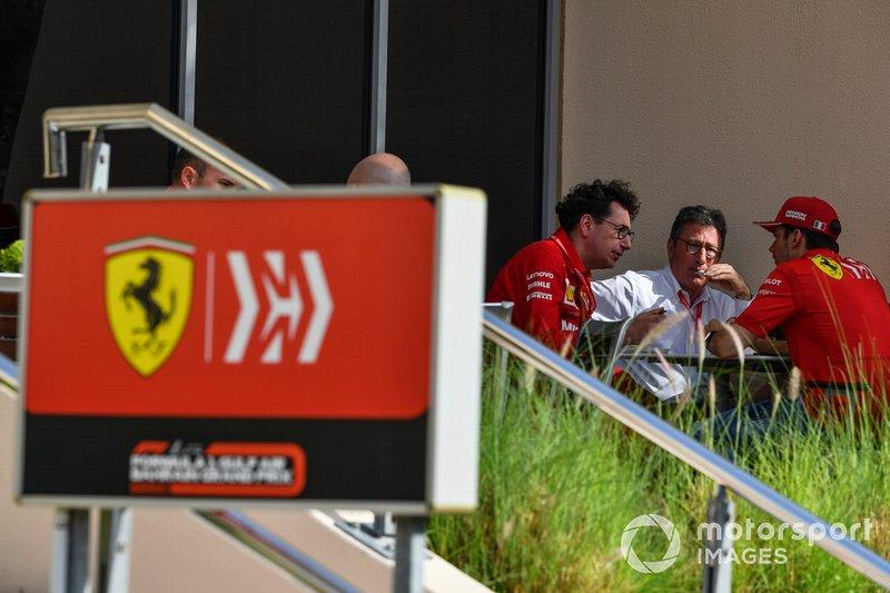 Керівник Ferrari Маттіа Бінотто, генеральний директор Ferrari Луї Каміллері, Шарль Леклер, Ferrari