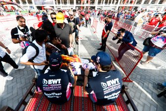 Sergio Perez, Racing Point and Lance Stroll, Racing Point sign autographs for fans