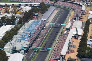 The drivers lined up on the grid for the start