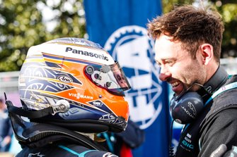 Mitch Evans, Panasonic Jaguar Racing, hugs a team member in parc ferme