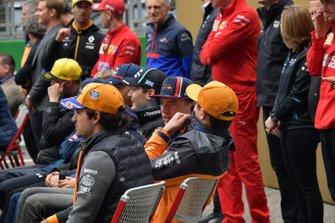 Carlos Sainz Jr., McLaren, Lando Norris, McLaren, and Max Verstappen, Red Bull Racing