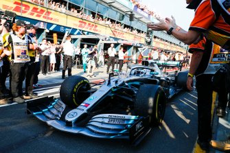 Valtteri Bottas, Mercedes AMG W10, 1st position, arrives in Parc Ferme