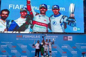 Podium: race winner Lucas Di Grassi, Audi Sport ABT Schaeffler, second placeAntonio Felix da Costa, BMW I Andretti Motorsports and third place, Edoardo Mortara Venturi Formula E