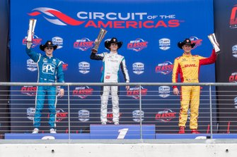 Podium: Race winner Colton Herta, Harding Steinbrenner Racing Honda, second place Josef Newgarden, Team Penske Chevrolet, third place Ryan Hunter-Reay, Andretti Autosport Honda