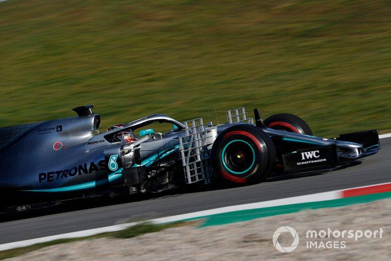 Lewis Hamilton, Mercedes-AMG F1 W10 con sensores aerodinámicos