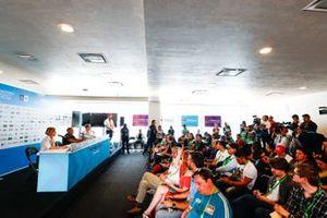 Susie Wolff, Team Principal, Venturi Formula E, Michael Carcamo, Nissan e.Dams and Sylvain Filippi, Managing Director & CTO, Virgin Racing in the press conference