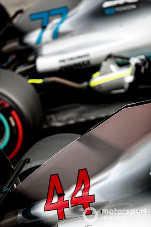 The cars of Lewis Hamilton, Mercedes AMG F1 W09 EQ Power+, and Valtteri Bottas, Mercedes AMG F1 W09 EQ Power+, in Parc Ferme after Qualifying
