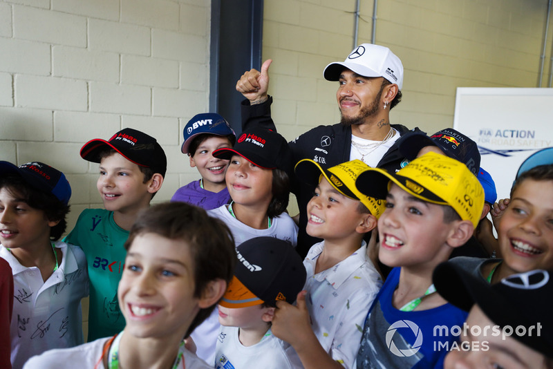 Lewis Hamilton, Mercedes AMG F1, meets some young fans