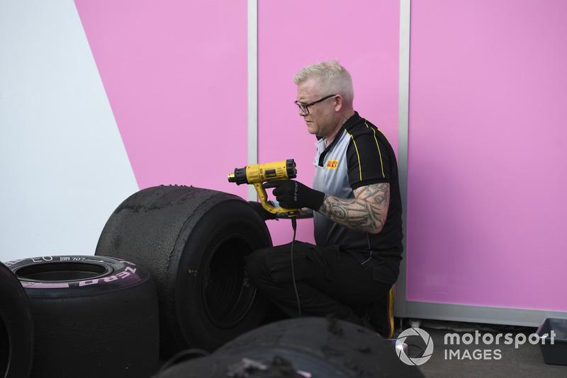 Pirelli engineer with Pirelli tyres