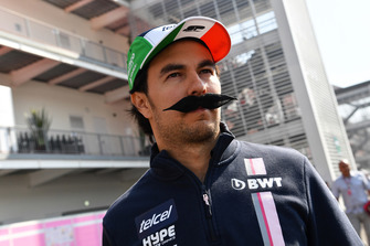 Sergio Perez, Racing Point Force India with moustache