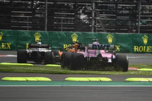Sergio Perez, Racing Point Force India VJM11 goes over the grass