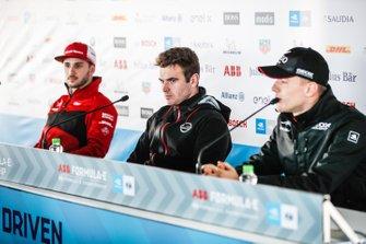 Daniel Abt, Audi Sport ABT Schaeffler, Oliver Rowland, Nissan e.Dams, Maximilian Günther, Dragon Racing en conférence de presse