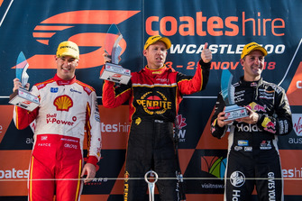 Podium: Race winner David Reynolds, Erebus Motorsport Holden, second place Scott McLaughlin, DJR Team Penske Ford, third place Jamie Whincup, Triple Eight Race Engineering Holden Daniel Kalisz Photographer